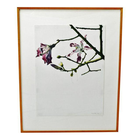 Vintage Framed Susan Fox Magnolia Tree Style Watercolor - Pencil Signed