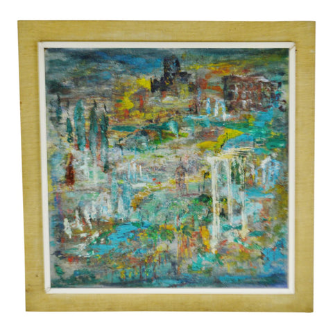 Vintage Abstract Oil on Canvas Board Painting with Grass Cloth Frame