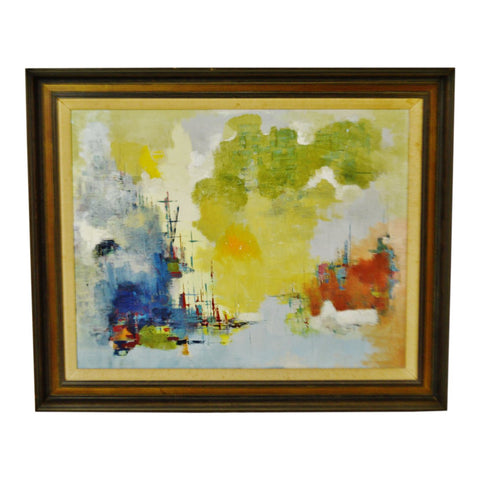 Vintage Framed Abstract Nautical Seascape Ships in Marina Oil on Canvas
