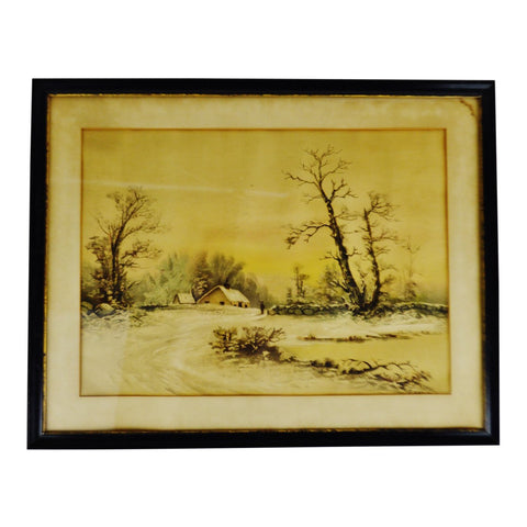 Antique Framed Mixed Media Country Landscape Scene