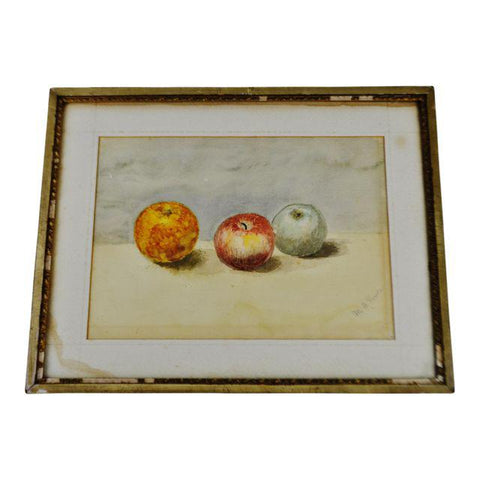 Antique Original Still Life Watercolor Painting - Pencil Signed