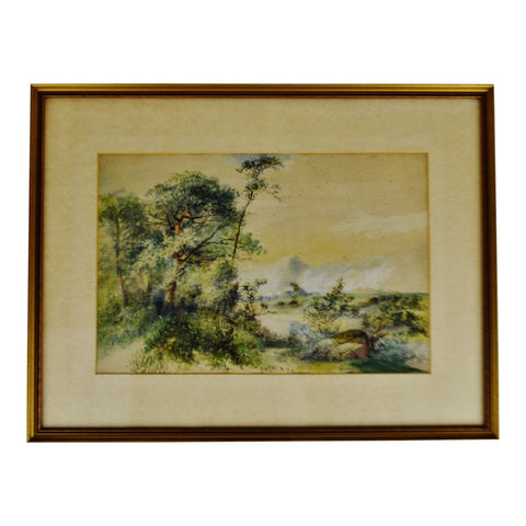 Antique Framed Watercolor Massachusetts Landscape Scene - Artist Signed