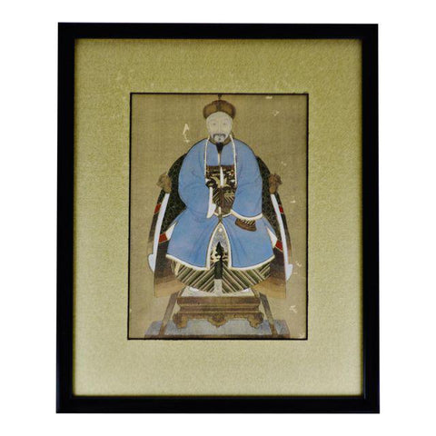 Vintage Asian Mixed Media Framed Painting