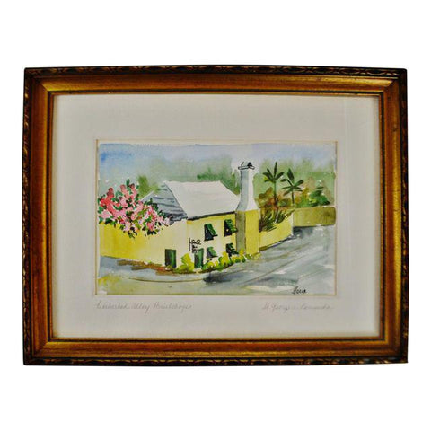 Vintage Framed Featherbed Alley Print Shop Watercolor Painting - Artsist Signed