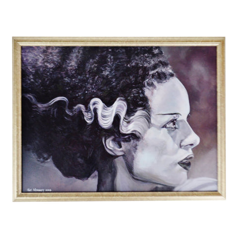 Framed Bride of Frankenstein Pop Art Acrylic on Canvas Painting - Artist Signed