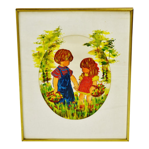 Vintage 1970's Framed Children in Garden Watercolor - Artist Signed