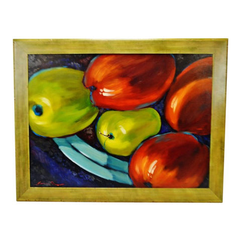 "Large Framed Sergey Cherep Oil on Board Still Life Painting ""Apples"" - Artist Signed"