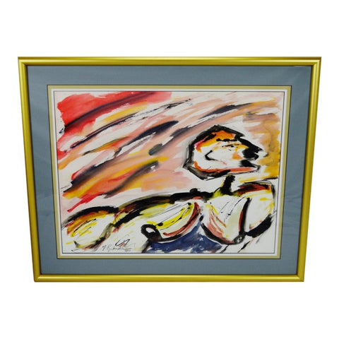 Vintage 1983 Framed Abstract Watercolor- Artist Signed
