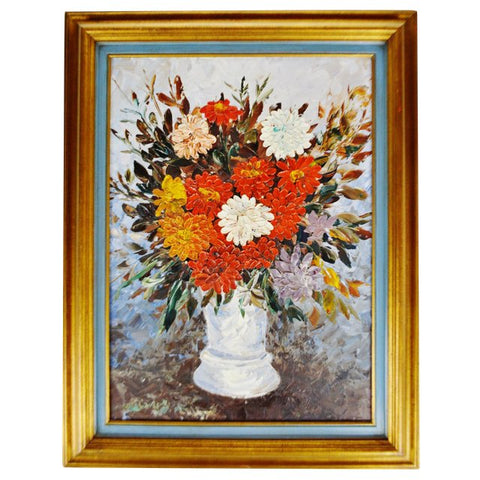 Vintage John Henshaw Impasto Oil on Canvas Board Floral Still Life Painting