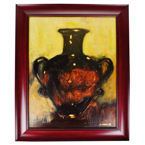 Vintage Framed Still Life Vase Oil on Canvas by Norman Wyatt Jr.