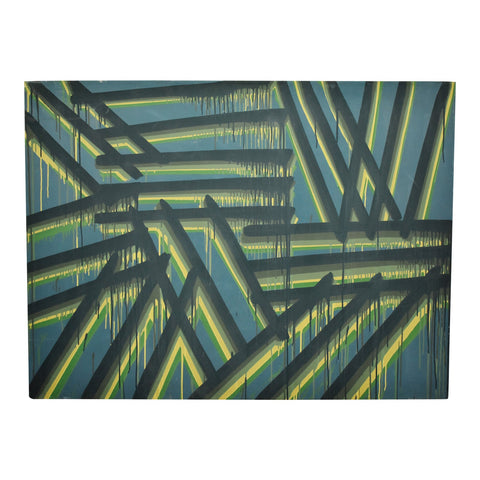 Vintage Large Scale Geometric Abstract Oil on Canvas Painting - Artist Signed
