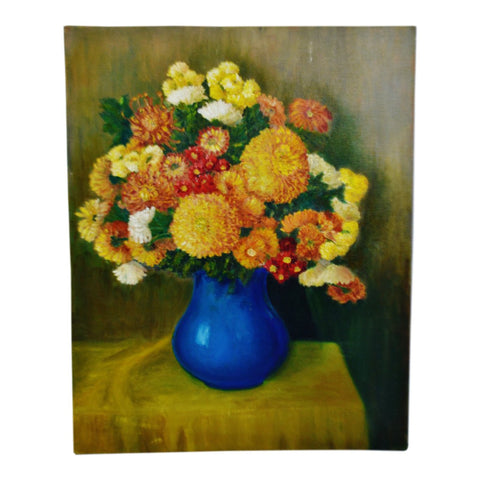 Vintage Oil on Canvas Floral Still Life Painting