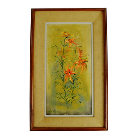 Vintage Framed Floral Still Life Oil Painting on Canvas - Artist Signed