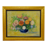 Vintage Framed Floral Still Life Oil on Board Painting - Artist Signed