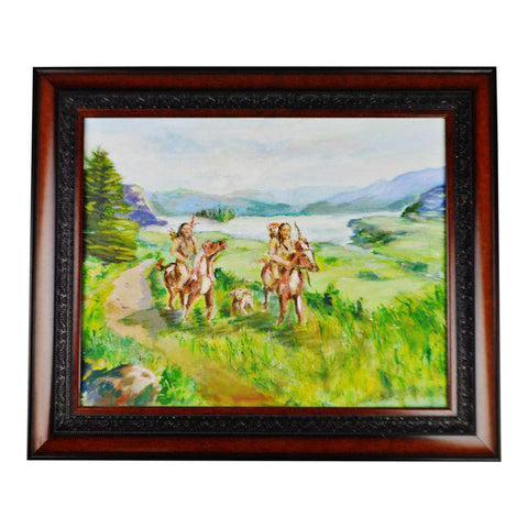 Framed Oil on Board Signed Painting Native American Indians on Horseback