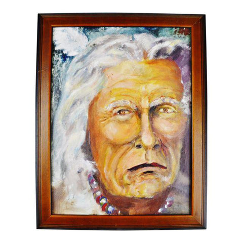 Framed Oil on Board Painting Portrait of Elder Native American Indian