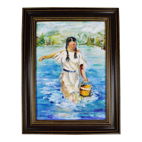 Framed Oil on Board Signed Painting Native American Indian Maiden