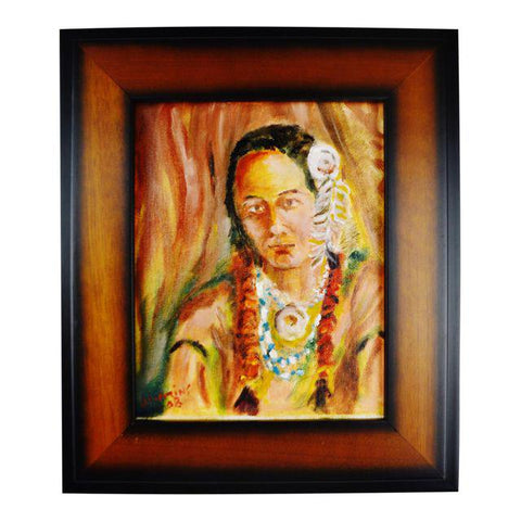 Framed Oil on Board Signed Painting Portrait of Native American Indian