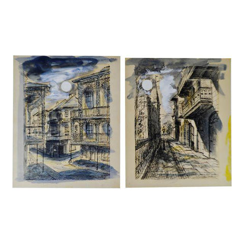 Vintage Jacques Van Aalten New Orleans French Quarter Signed Art Sketches - a Pair