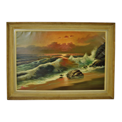 Vintage Framed Nautical Seascape Oil on Canvas - Artist Signed