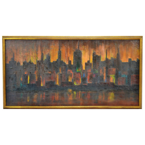 Vintage Framed Cityscape Oil on Canvas Painting - Artist Signed