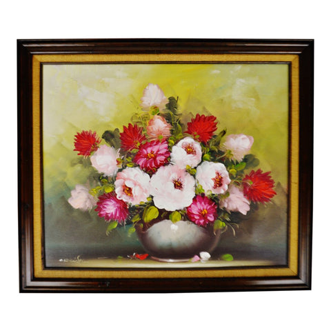 Vintage Framed Floral Still Life Oil on Canvas Painting - Artist Signed