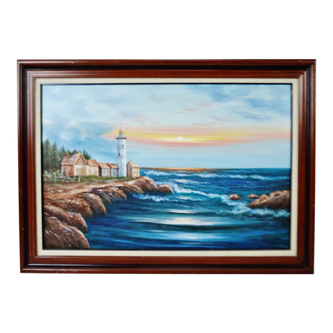 Vintage Framed Nautical Lighthouse Seascape Oil on Canvas - Artist Signed