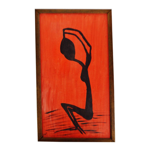 Vintage Red & Black Abstract Figural Woman Oil on Canvas Painting - Artist Signed