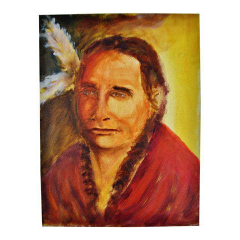 Oil on Canvas Painting Portrait of Native American Indian Actor Russell Means