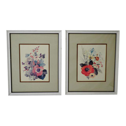 Vintage Framed Floral Watercolor Paintings - A Pair