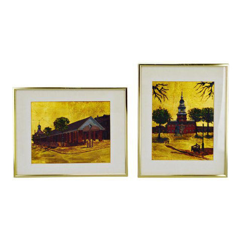 2 Philadelphia Landmark Oil Paintings Gold Leaf Board - R. Smythe