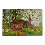 Vintage Folk Art Oil on Canvas Board Country Landscape Painting