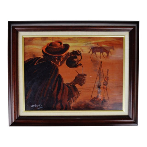 Vintage Framed Western Scene Oil on Board Painting - Artist Signed