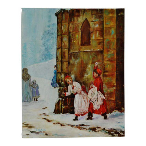 Vintage 1986 The Snowball Fight Oil Painting on Canvas - Artist Signed