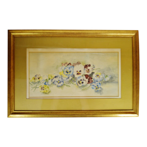 Antique Framed Floral Still Life Watercolor - Artist Signed