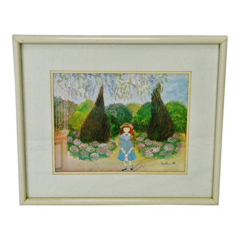 Vintage Framed Print by French Artist Berthine Marceau