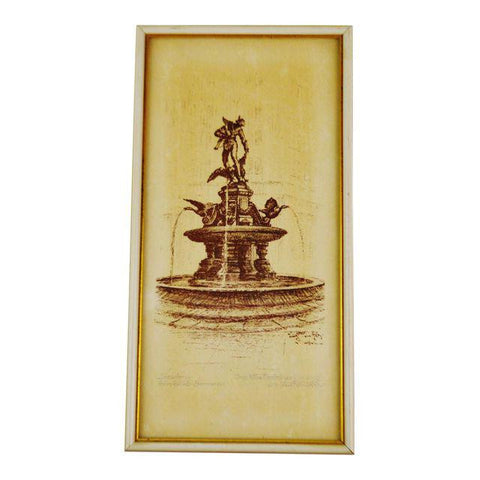 Framed Dresden Germany Fountain Scene Print