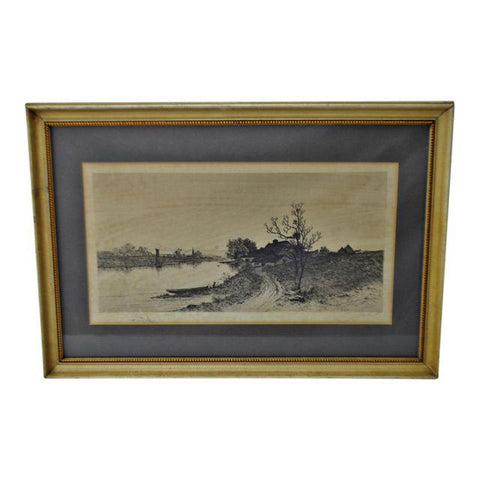 Antique Framed Remarque Landscape Engraving - Signed