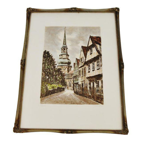 Early Stade Germany Framed Color Engraving Pencil Signed