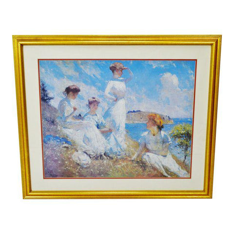Vintage Framed Frank Weston Benson Summer Seascape Print