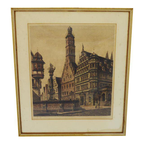 Hand Colored Etching of Rothenburg St. George Brunnen