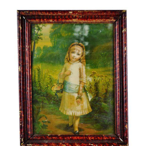 Vintage Framed  Print of Girl Holding Basket of Flowers