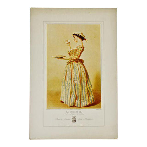 Vintage 1967 Lithograph of 19th Century Parisian Fashion Titled La Curieuse