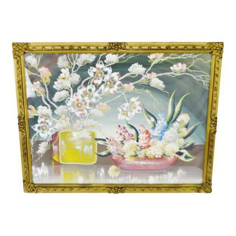 Early Decorative Floral Gesso Framed Still Life Gouache Watercolor