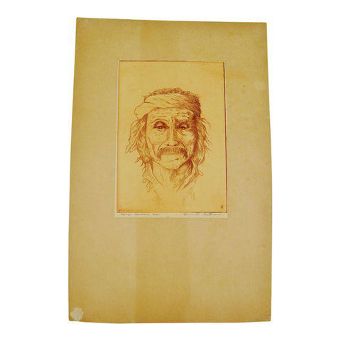 Native American Navajo Medicine Man Pencil Signed Print Eastman