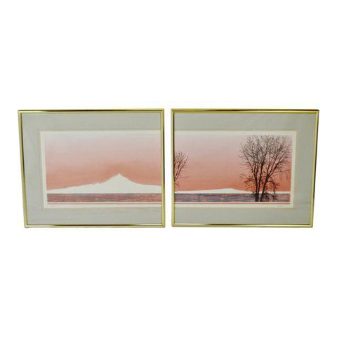 Vintage Diptych Limited Edition Landscape Scene Lithograph - Artist Signed