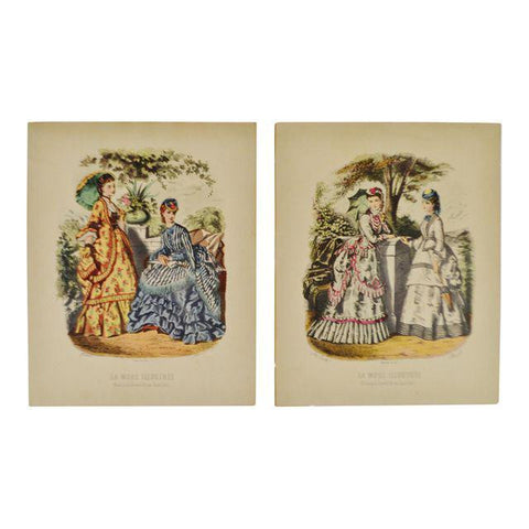 European Fashion Prints on Paper - a set of 2
