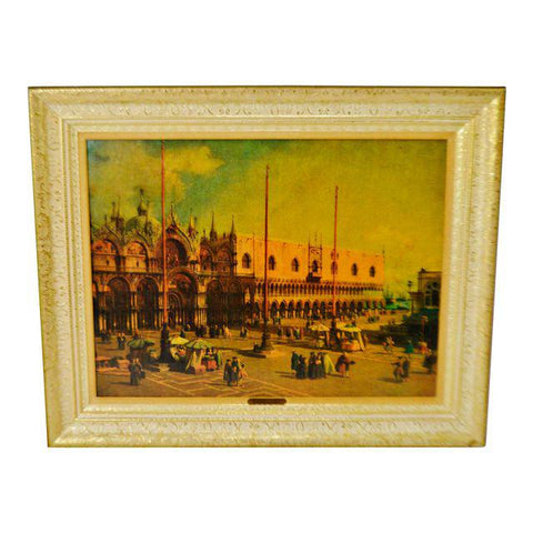 Vintage Gilt Framed Textured Print on Board The Square of St. Mark's by Canaletto