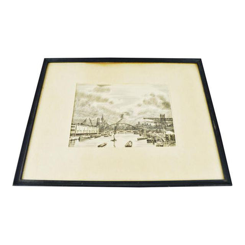 French La Seine au Travail Framed Etching