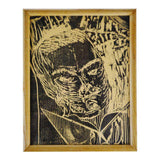 Vintage Framed Woodblock Engraving Print of Man Reading Book